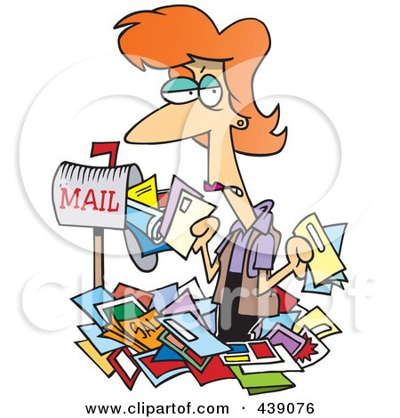 Royalty-Free (RF) Clip Art Illustration of a Cartoon Woman Overwhelmed With Junk Mail by toonaday