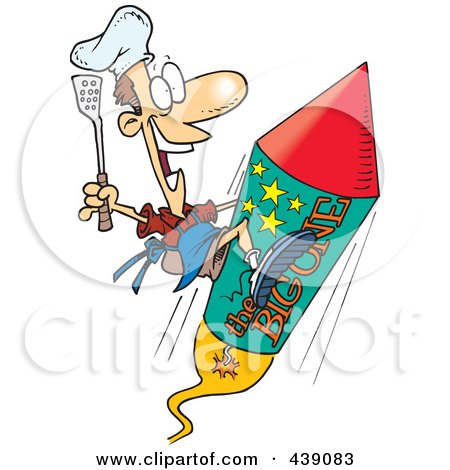 Royalty-Free (RF) Clip Art Illustration of a Cartoon Cook On A Fourth Of July Rocket by toonaday