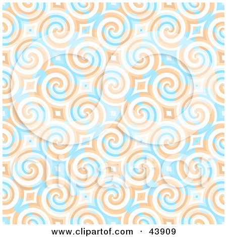 Clipart Illustration of a Retro Background Of Blue And Orange Swirls And Diamonds by Arena Creative
