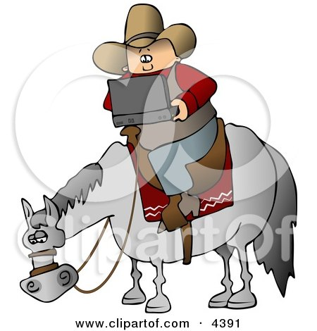 Cowboy Using a Portable, Wireless Laptop Computer While Sitting On a Saddled Horse Clipart by djart