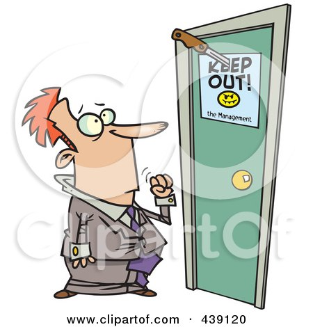 Royalty-Free (RF) Clip Art Illustration of a Cartoon Businessman At A Door With A Keep Out Sign by toonaday