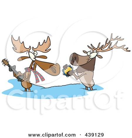 Royalty-Free (RF) Clip Art Illustration of a Cartoon Moose And Elk Jamming In The Snow by toonaday