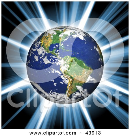 Clipart Illustration of a Bright Explosion And Burst Of Light Behind Planet Earth by Arena Creative