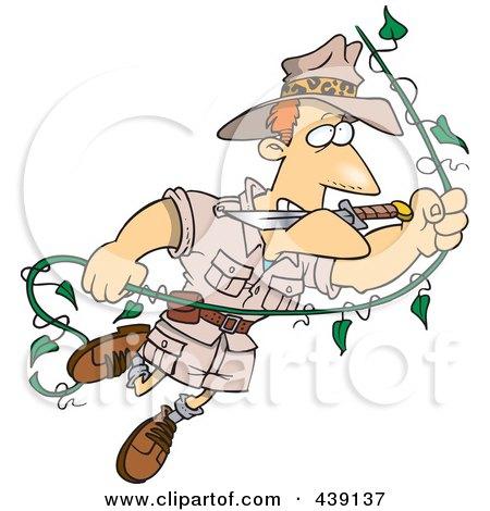 Royalty-Free (RF) Clip Art Illustration of a Cartoon Explorer Man Swinging On A Vine by toonaday