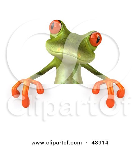 Clipart Illustration of a Cute 3d Green Tree Frog Standing Behind A Blank Sign by Julos