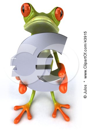 Clipart Illustration of a Cute 3d Green Tree Frog Holding A Silver Euro Symbol by Julos