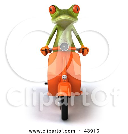Clipart Illustration of a Cute 3d Green Tree Frog Riding Forward On An Orange Scooter by Julos