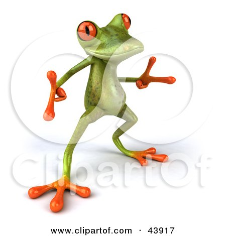 Clipart Illustration of a Cool Dancing 3d Green Tree Frog With Big Red Eyes by Julos