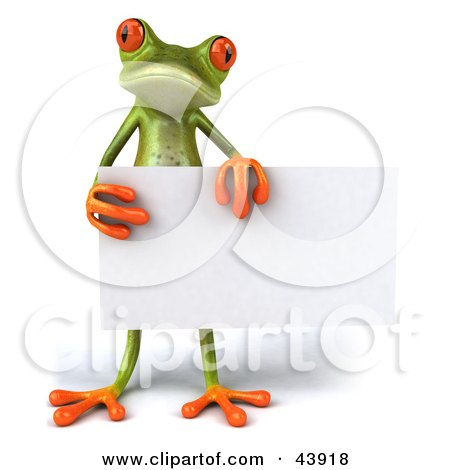 Clipart Illustration of a Cute 3d Green Tree Frog Standing And Holding A Blank Sign by Julos
