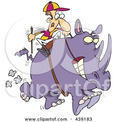 Royalty-Free (RF) Clip Art Illustration of a Cartoon Jockey Riding A Rhino by toonaday