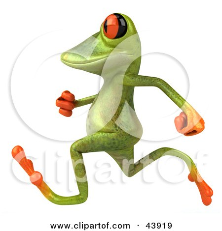 Cute 3d Green Tree Frog Running Or Jogging By Posters, Art Prints