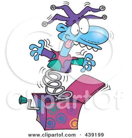 Royalty-Free (RF) Clip Art Illustration of a Cartoon Jack In The Box Opening Up by toonaday