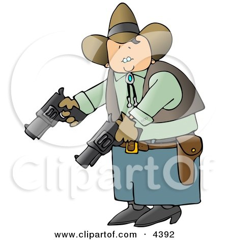 Cowboy Holding And Pointing Two Pistols Towards The Ground Clipart