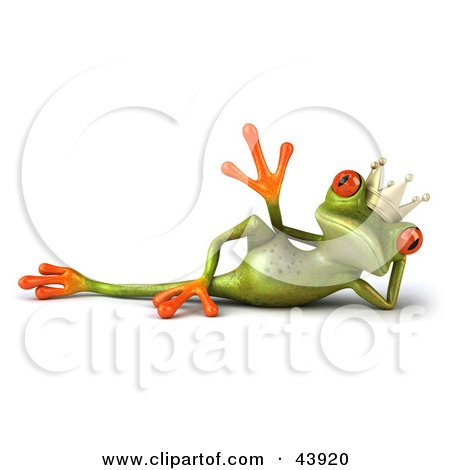 Clipart Illustration of a Reclined And Waving 3d Green Tree Frog Prince Or King With Big Red Eyes by Julos
