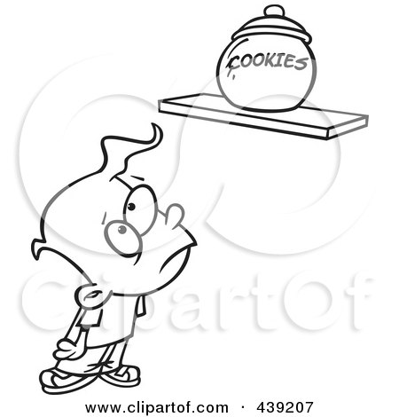 Royalty-Free (RF) Clip Art Illustration of a Cartoon Black And White Outline Design Of A Sad Kid Staring At A Cookie Jar On A Shelf by toonaday