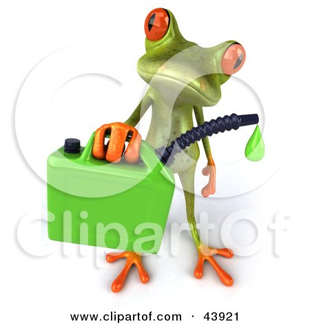 Clipart Illustration of a Cute 3d Green Tree Frog Holding A Dripping Gasoline Can by Julos