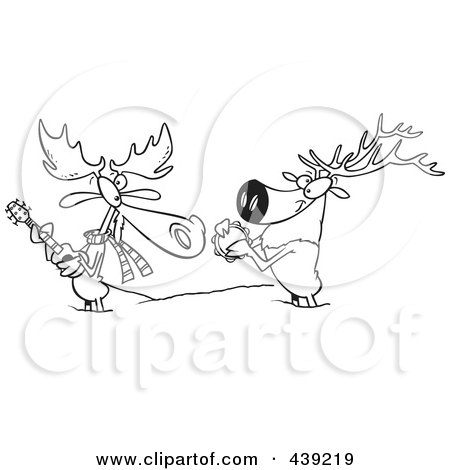 Royalty-Free (RF) Clip Art Illustration of a Cartoon Black And White Outline Design Of A Moose And Elk Jamming In The Snow by toonaday