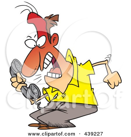 Royalty-Free (RF) Clip Art Illustration of a Cartoon Irate Man Screaming Into A Phone by toonaday