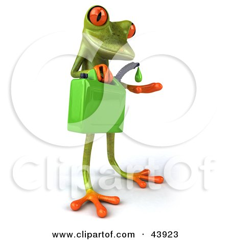 Clipart Illustration of a Cute 3d Green Tree Frog Holding A Green Gas Can by Julos
