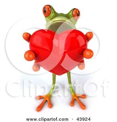 Clipart Illustration of a Sweet 3d Green Tree Frog Holding Out A Big Red Heart by Julos