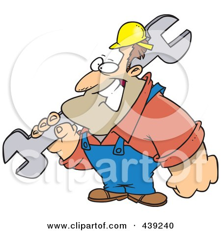 Royalty-Free (RF) Clip Art Illustration of a Cartoon Strong Builder Carrying A Wrench by toonaday