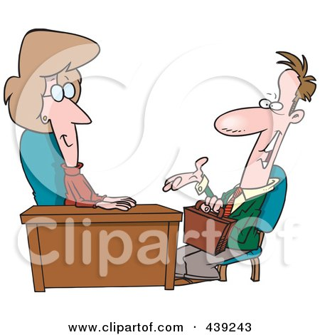 Royalty-Free (RF) Clip Art Illustration of a Cartoon Woman Interviewing A Man by toonaday