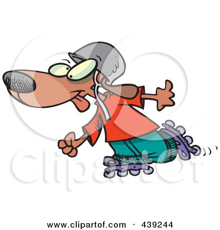 Royalty-Free (RF) Clip Art Illustration of a Cartoon Dog Roller Blading by toonaday