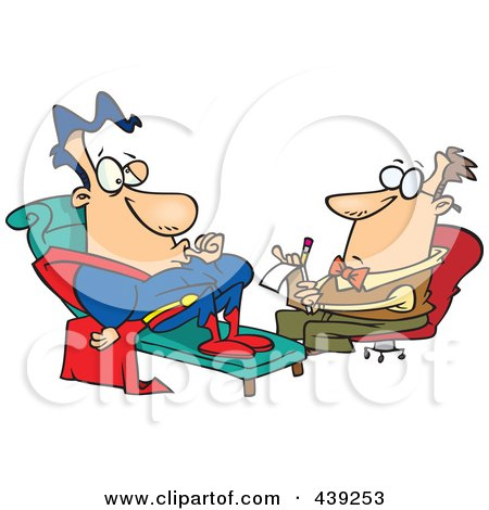 Royalty-Free (RF) Clip Art Illustration of a Cartoon Insecure Super Hero Talking To A Therapist by toonaday