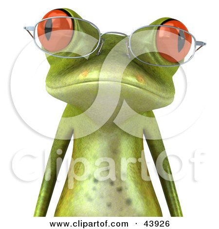 Clipart Illustration of a Wise 3d Green Tree Frog Wearing Spectacles And Facing Front by Julos