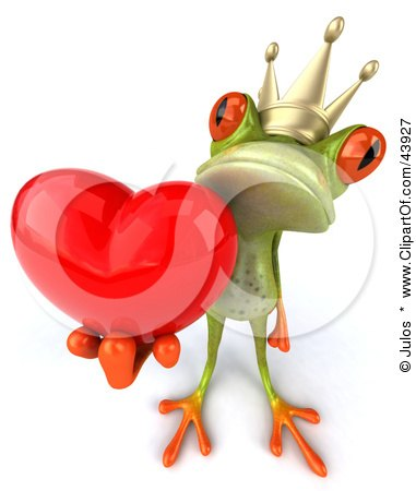 Clipart Illustration of a Romantic 3d Green Frog Prince Wearing A Crown And Holding A Red Heart by Julos
