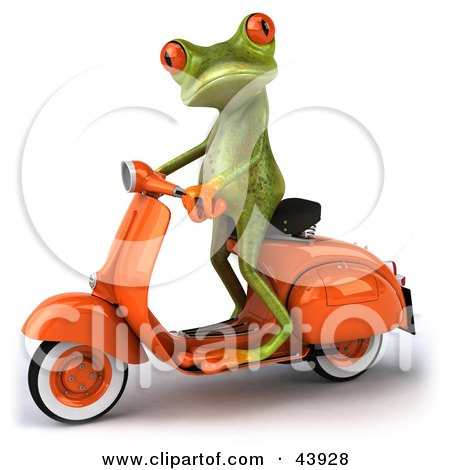 Clipart Illustration of a Cute 3d Green Tree Frog Standing Up On An Orange Scooter by Julos