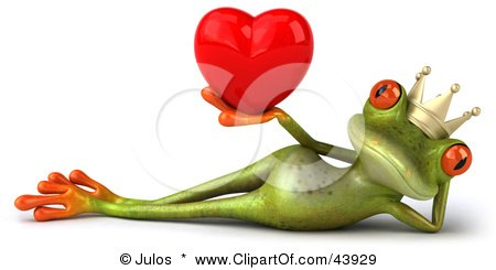 Clipart Illustration of a Reclined 3d Green Frog Prince Wearing A Crown And Holding Up A Red Heart by Julos