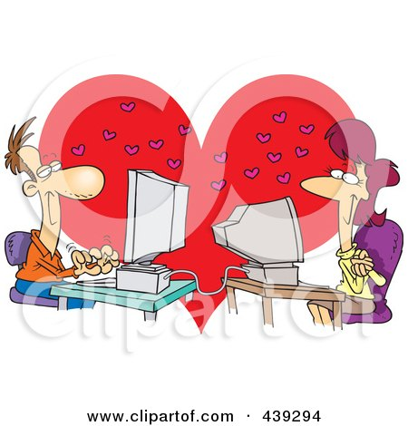 Royalty-Free (RF) Clip Art Illustration of a Cartoon Couple Meeting Online by toonaday
