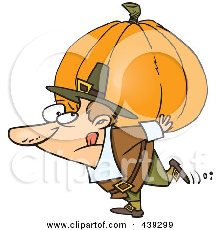 Royalty-Free (RF) Clip Art Illustration of a Cartoon Pilgrim Carrying A Heavy Pumpkin by toonaday
