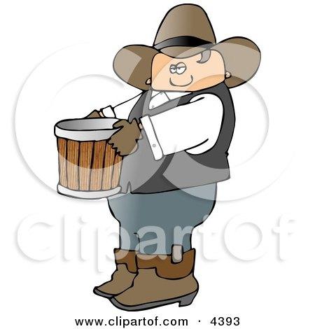 Cowboy Farmer Carrying An Empty Bucket Clipart