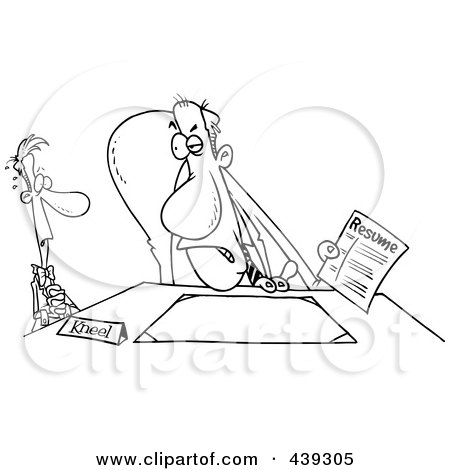 Royalty-Free (RF) Clip Art Illustration of a Cartoon Black And White Outline Design Of A Nervous Man In An Interview by toonaday