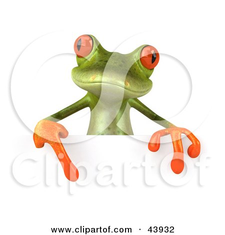 Clipart Illustration of a Cute 3d Green Tree Frog Pointing Down At A Blank Sign by Julos