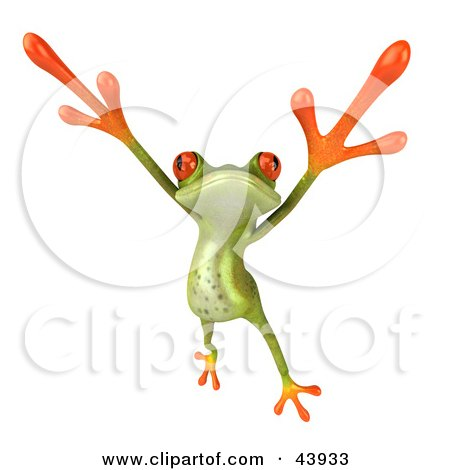 Clipart Illustration of a Dancing 3d Green Tree Frog Leaping And Holding His Arms Up by Julos