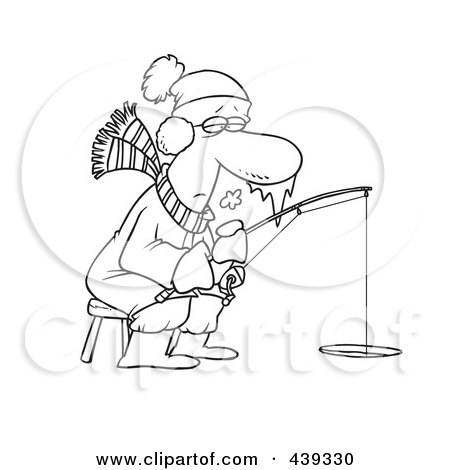 Royalty-Free (RF) Clip Art Illustration of a Cartoon Black And White Outline Design Of A Frozen Man Ice Fishing by toonaday