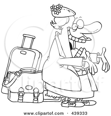 Royalty-Free (RF) Clip Art Illustration of a Cartoon Black And White Outline Design Of A Happy Auntie Greeting By Her Luggage by toonaday