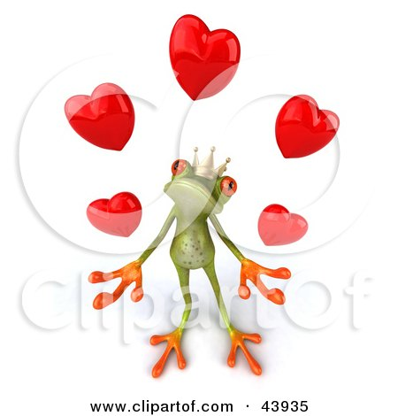 Clipart Illustration of a Loving 3d Green Frog Prince Wearing A Crown And Juggling Hearts by Julos