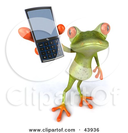 Clipart Illustration of a Cute 3d Green Tree Frog Holding Up A Cell Phone by Julos