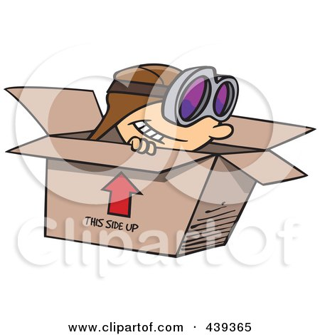 Royalty-Free (RF) Clip Art Illustration of a Cartoon Boy Wearing Goggles And Pretending To Fly In A Box by toonaday