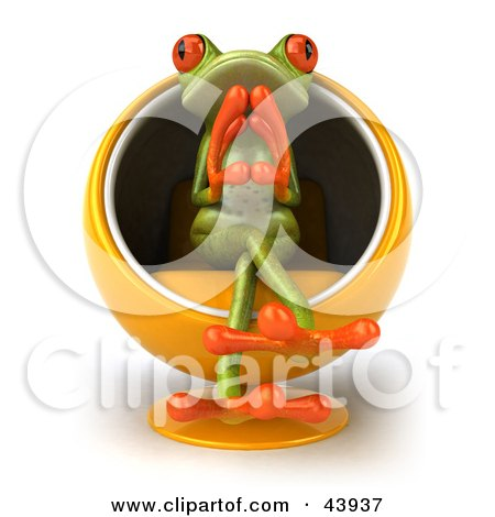 Clipart Illustration of a Thoughtful 3d Green Tree Frog Sitting In An Orange Cocoon Chair by Julos