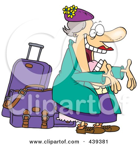 Royalty-Free (RF) Clip Art Illustration of a Cartoon Happy Auntie Greeting By Her Luggage by toonaday