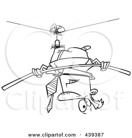 Royalty-Free (RF) Clip Art Illustration of a Cartoon Black And White Outline Design Of A Businessman Suspended Upside Down From A Tight Rope by toonaday