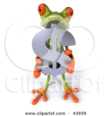 Clipart Illustration of a Cute 3d Green Tree Frog Holding A Silver Dollar Symbol by Julos