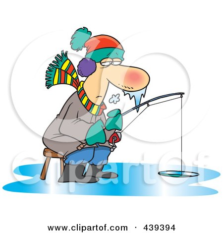 Royalty-Free (RF) Clip Art Illustration of a Cartoon Frozen Man Ice Fishing by toonaday