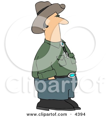 Cowboy Standing And Waiting With Hands In Pants Pockets Clipart