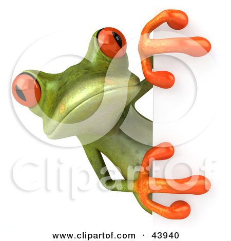 Clipart Illustration of a Cute 3d Green Tree Frog Looking Around A White Sign by Julos